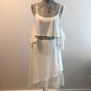 White, lacy, off the shoulder dress